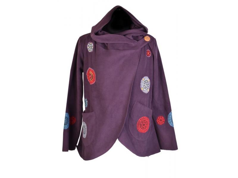 Švestkový fleecový kabát s kapucí zapínaný na knoflík, aplikace mandal, výšivka