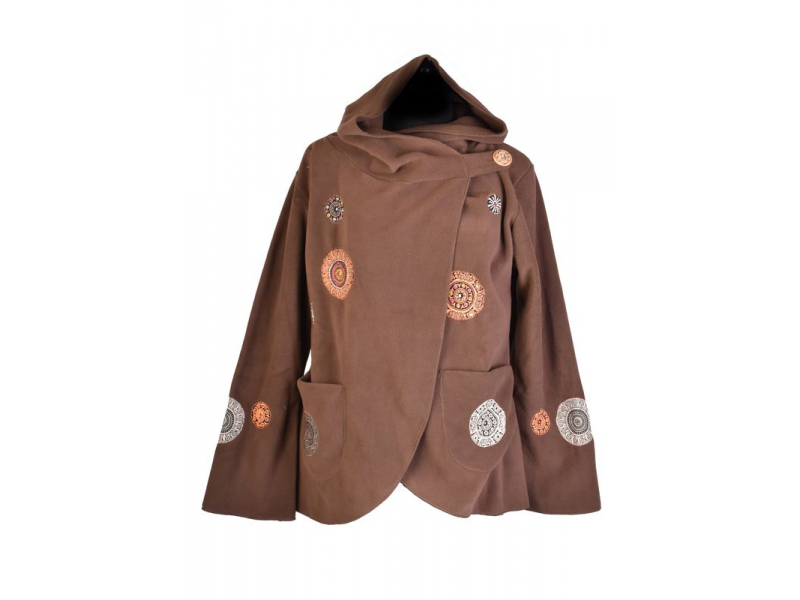 Hnědý fleecový kabát s kapucí zapínaný na knoflík, aplikace mandal, výšivka