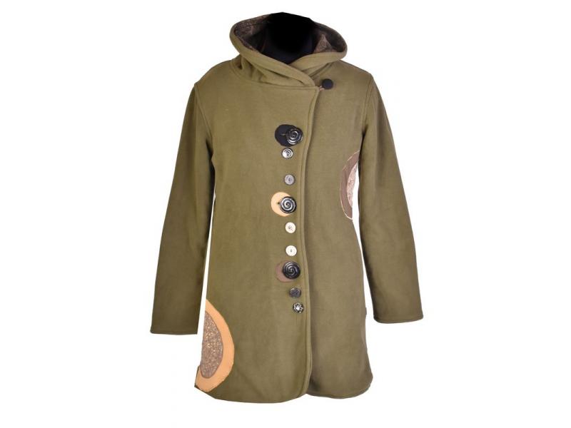 Khaki kabát s límcem zapínaný na knoflíky, barevné aplikace, potisk a výšivk