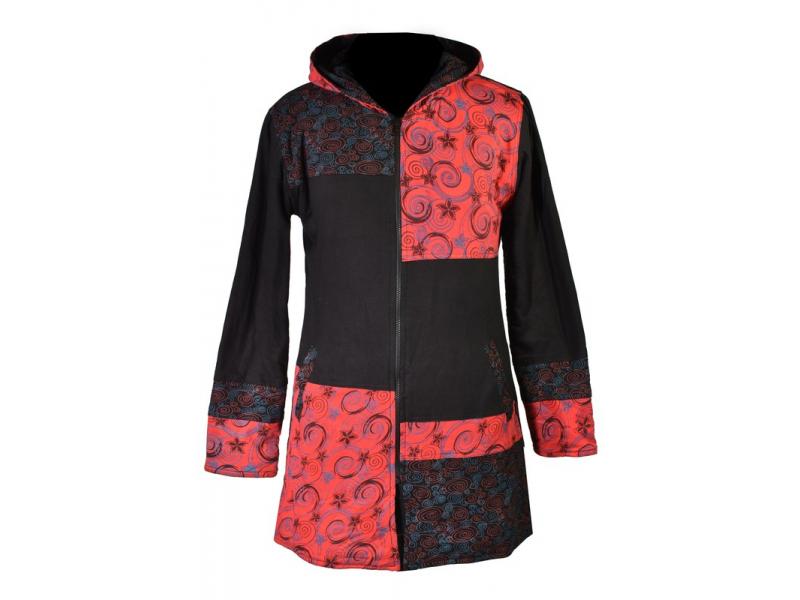 """Černo červený patchworkový kabátek s kapucí """"Flower Spiral"""", potisk, kapsy, zip"""