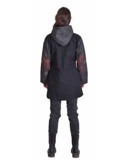"""Černo-šedý kabátek s kapucí """"Ornamental design"""", výšivka, potisk, kapsy, zip"""