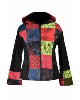 Multibarevná patchworková bunda s kapucí, mix tisků, zip, kapsy