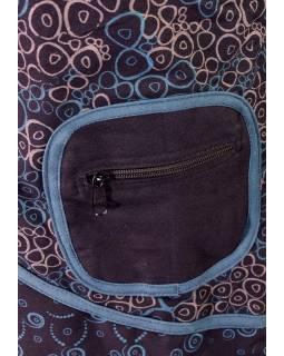 """Černo-modrý kabátek s kapucí, """"Bubble design"""", potisk, kapsy, zip"""