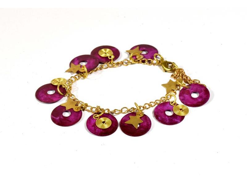 Náramek s růžovými kolečky a hvězdičkami, zlatý kov
