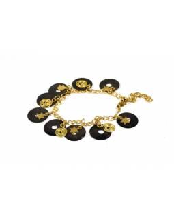 Náramek s černými kolečky a hvězdičkami, zlatý kov
