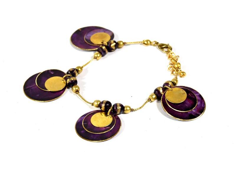 Náramek s fialovými a zlatými kolečky, zlatý kov