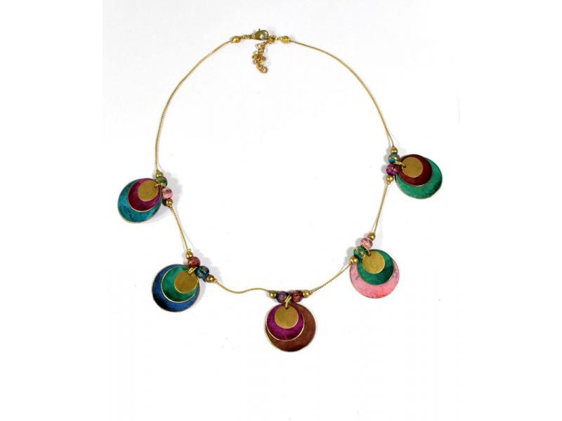 Náhrdelník s multibarevnými a zlatými kolečky, zlatý kov