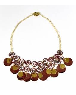 Náhrdelník s hnědými a zlatými kolečky, zlatý kov