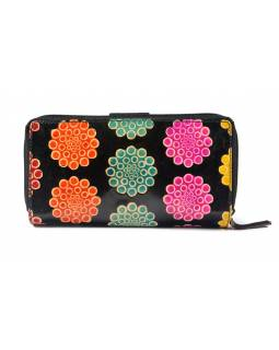 """Peněženka design """"Flower bubbles"""", ručně malovaná kůže, černá, 18x10cm"""