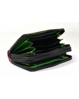 """Peněženka design """"Ziz Zak Circles"""", ručně malovaná kůže, zelená, 15x10cm"""