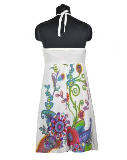 """Bílé šaty bez rukávu """"Elisa"""" s barevnými květinami, vázání za krk"""