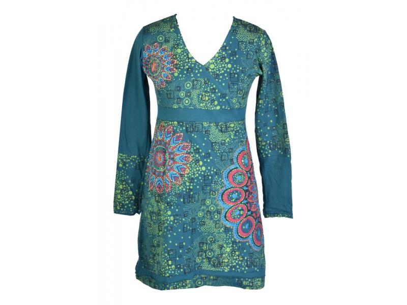 Petrolejové šaty s dlouhým rukávem, květinový potisk, výšivka, V výstřih