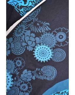 Černo-tyrkysové šaty s dlouhým rukávem, květinový potisk, V výstřih