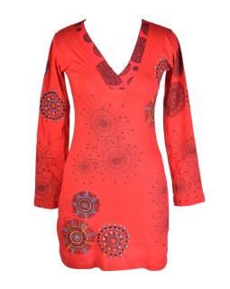 Červené šaty s dlouhým rukávem, potisk malých mandal, výšivka, V výstřih