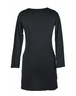 Černo-zelené šaty s dlouhým rukávem, květinový potisk a výšivka