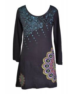 Černé šaty s dlouhým rukávem, Sun Mandala design, aplikace a výšivka, potisk