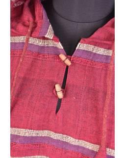 Pánská vínovo-červená pruhovaná bunda s kapucí, kapsa klokanka