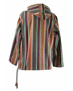 Pánská multibarevná vzorovaná bunda s kapucí, kapsa klokanka