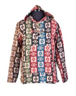 Multibarevný anorak s kapucí, knoflíky, multibarevný