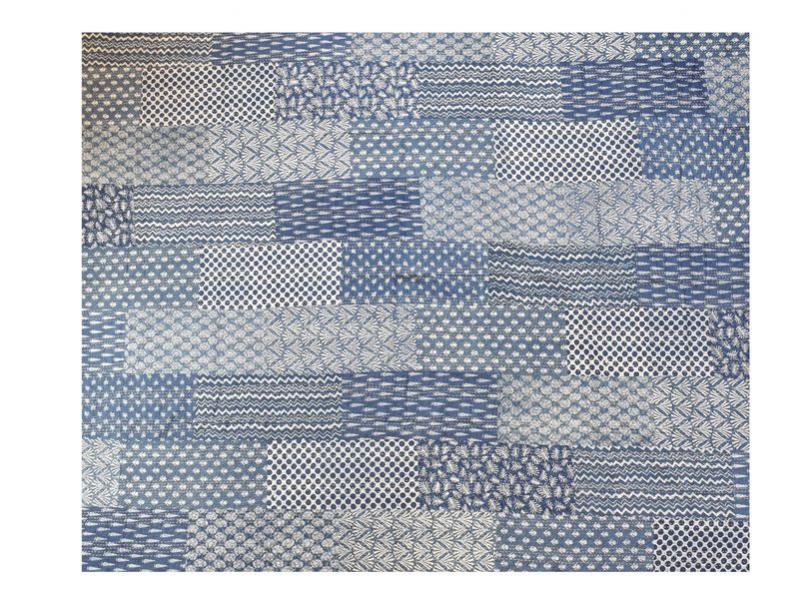 Přehoz na postel, modrý, block print, ruční práce, prošívaný, 230x280cm
