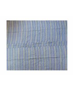 Blockprintová, ručně prošívaná deka, výplň bavlna, 230x260cm