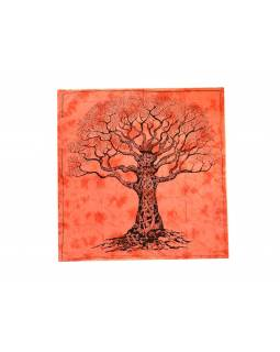 Přehoz na postel, strom života, oranžová batika, 220x202cm