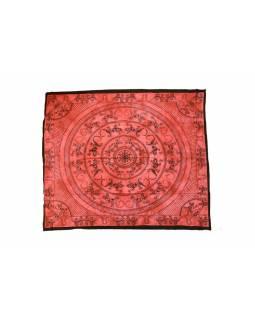 Přehoz na postel, ještěrky - mandala, vínová batika, 210x230cm