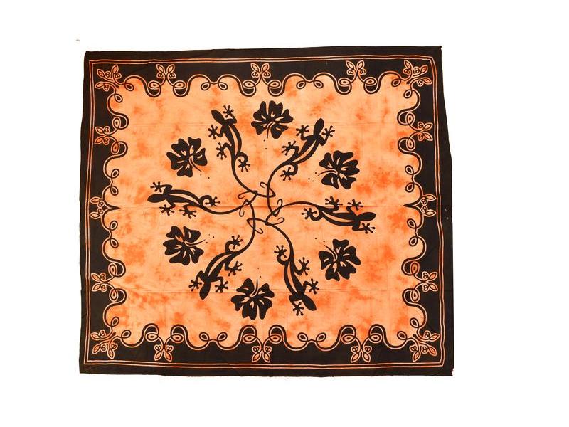 Přehoz na postel, ještěrky ,oranžová batika, 205x225cm