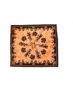 Přehoz na postel, ještěrky, oranžová batika, 205x225cm
