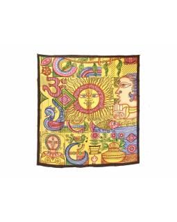 Multibarevný přehoz na postel, slunce, 210x230cm