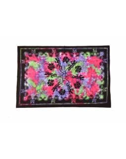 Přehoz na postel, ještěrky, multibarevná batika, 140x200cm