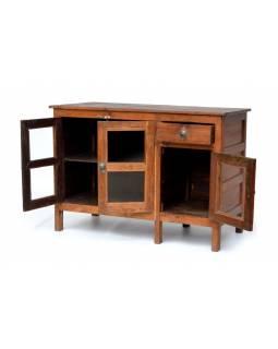 Prosklená skříňka z antik teakového dřeva, 106x50x74cm