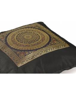 Povlak na polštář, tmavý s mandala designem, zlatá výšivka, 40x40cm