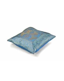 Povlak na polštář, modrý se sloním designem, zlatá výšivka, 40x40cm