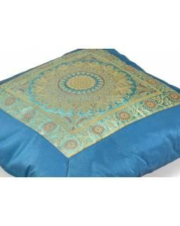 Povlak na polštář, modrý s mandala designem, zlatá výšivka, 40x40cm