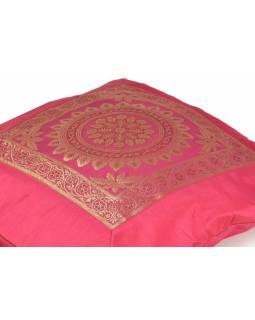 Povlak na polštář, růžový s mandala designem, zlatá výšivka, 40x40cm