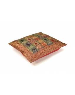 Povlak na polštář, multibarevný s square designem, zlatá výšivka, 40x40cm