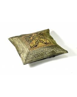 Černý saténový povlak na polštář se slony, zlatá výšivka, ruční práce, 40x40cm