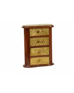 Dřevěná skříňka s mosazným kováním, 4 šuplíky, 20x10x26m