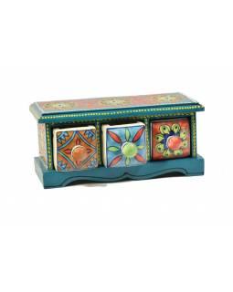 Skříňka, 3 keramických šuplíků, ručně malovaná, dřevo, 25x10x12cm
