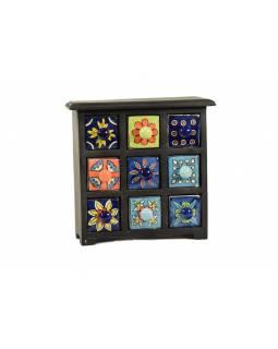 Skříňka s 9 keramickými šuplíky, dřevo, 25x10x25cm