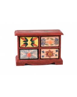 Skříňka s 4 keramickými šuplíky, ručně malovaná, dřevo, 27x13x18cm