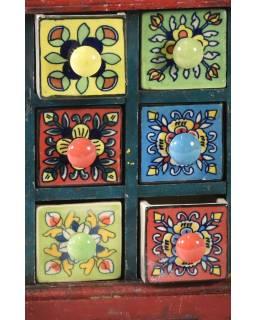 Skříňka s 6 keramickými šuplíky, ručně malovaná, dřevo, 17x8x24cm