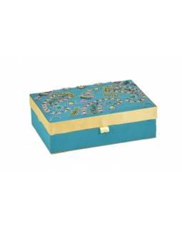 Ručně vyšívaná šperkovnice, tyrkysová s květinami, 18x13x5,5cm