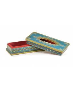 Dřevěná krabice na kapesníky, ručně malovaná, 16x13x8cm