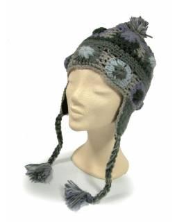 Čepice s ušima, 2 vločky v řadě, podšívka, šedo modrá