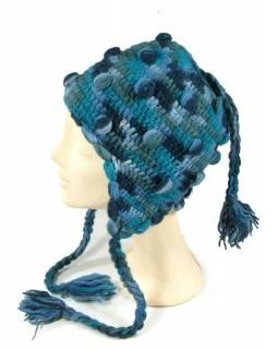 Čepice s ušima, kuličky, podšívka, tmavě modrý mix barev
