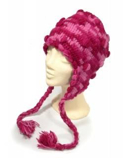 Čepice s ušima, ručně pletená,  kuličky, růžová, s podšívkou