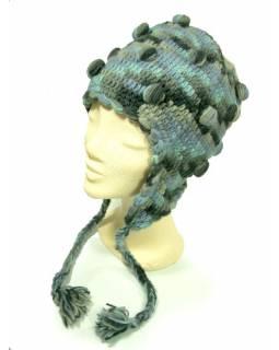 Čepice s ušima, kuličky, podšívka, světle modrá/šedá