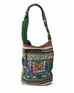 Taška přes rameno s výšivkou slona, zeleno-fialová, 37x36cm